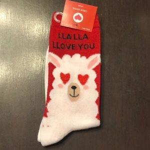 Accessories - Valentine's Day Llama Love You Crew Socks